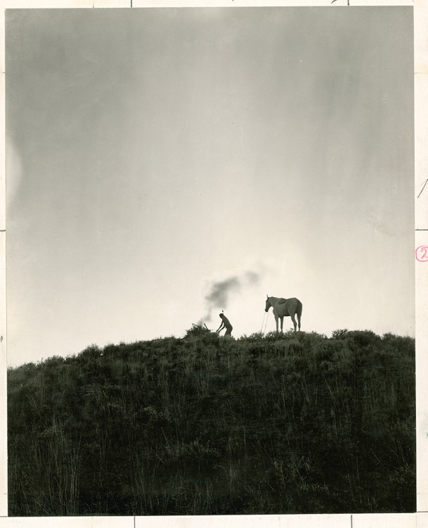 Sending smoke signals in Montana (June 1909) (photograph by Dr. Joseph K