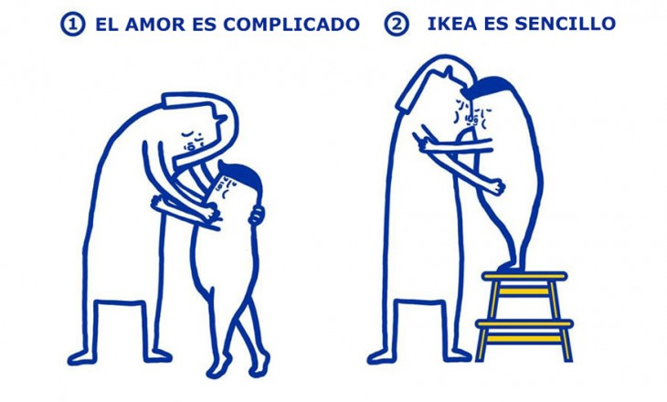 divertida ilustración creada por IKEA en la que da solución a la vida amorosa