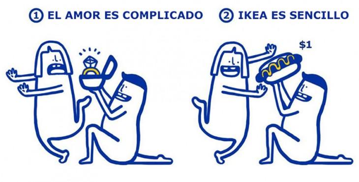 ilustración de IKEA que te enseña lo sencillo que es arreglar los problemas amorosos