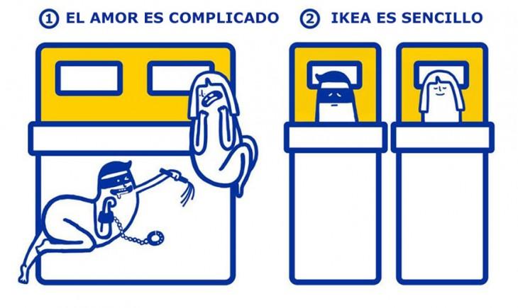 Ilustración que muestra la solución del amor según la tienda departamental IKEA