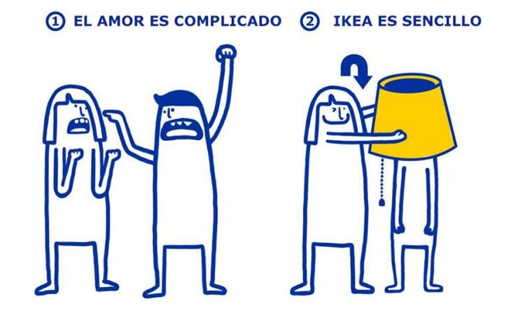 ilustración de IKEA que te muestra lo sencillo que es el amor