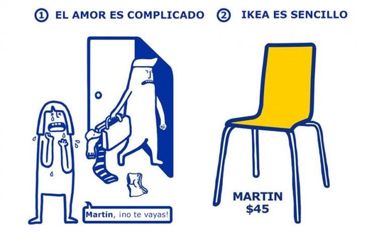divertida ilustración de IKEA que muestra la solución de los problemas de las parejas amorosas