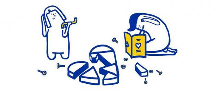 Ilustración del manual para solucionar los problemas de pareja según IKEA