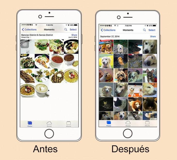 ilustración de las imágenes en tu celular antes y después de tener mascotas