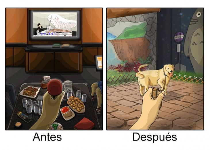 Ilustración que muestra tu pasatiempo antes y después de tener mascotas