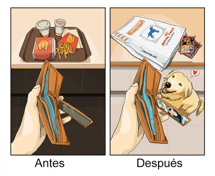 ilustración que muestra tus gastos antes y después de tener un perro