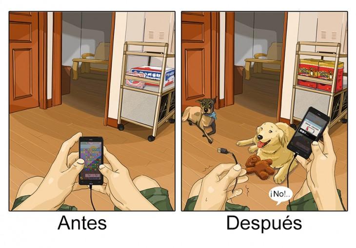 imagen que muestra tu cargador antes y después de tener una mascota