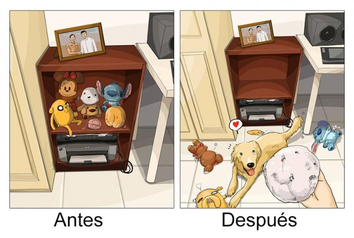 ilustración que refleja tus juguetes antes y después de tener un perro en casa