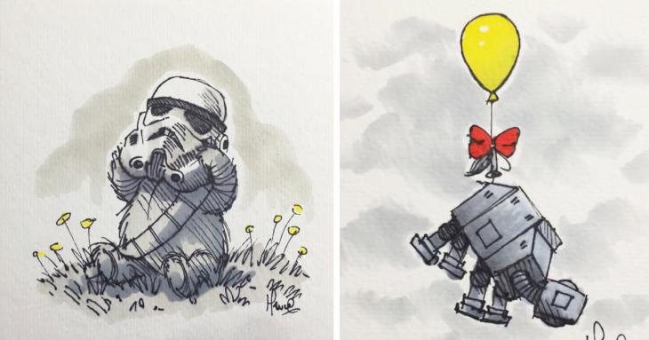 Personajes de Star Wars combinados con los personajes de Winnie Pooh