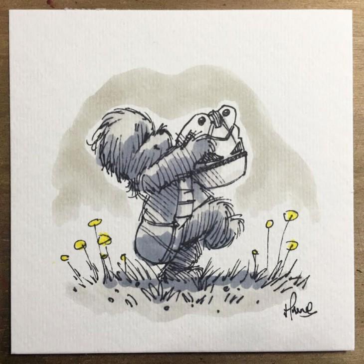 ilustración de winnie pooh como chewbacca de Star wars