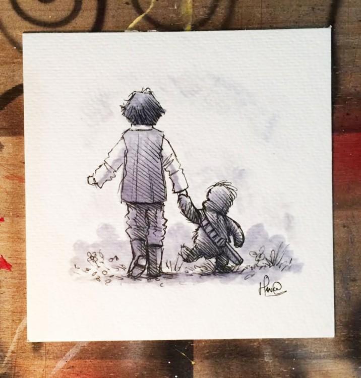 ilustración de dos personajes de winnie pooh recreando a dos personajes de la saga star wars