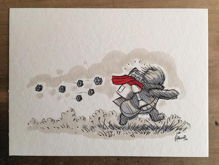 ilustración de Winnie Pooh como chewbacca cargando al robot r2d2
