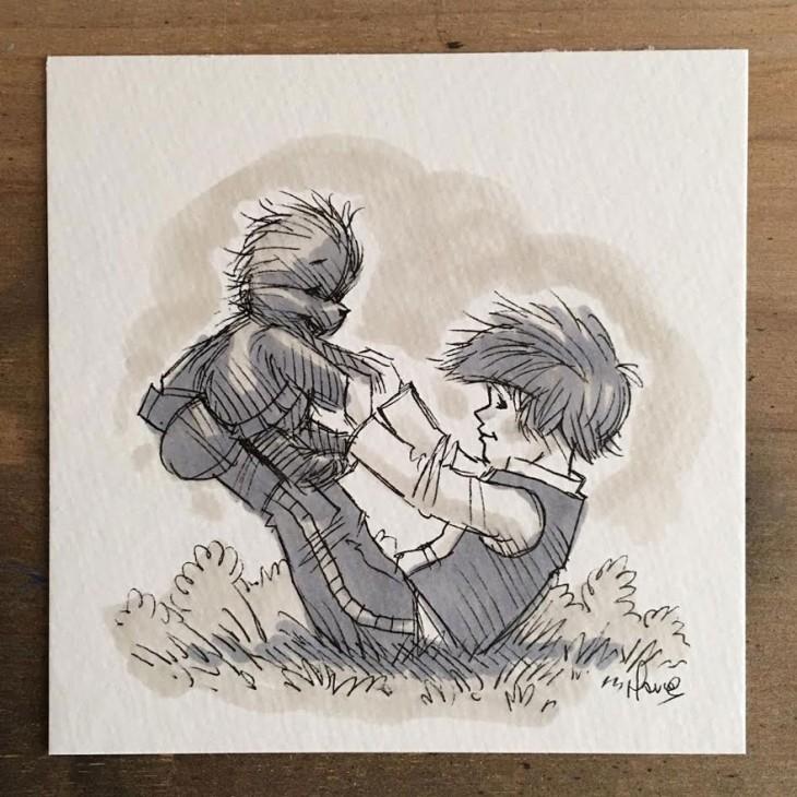 ilustración de los personajes de winnie pooh recreando los personajes de Star Wars