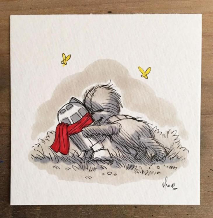 personajes de winnie pooh recreados como los de star wars en una ilustración