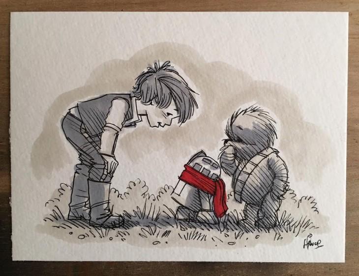 Ilustrador combina los personajes de Winnie Pooh y Star Wars