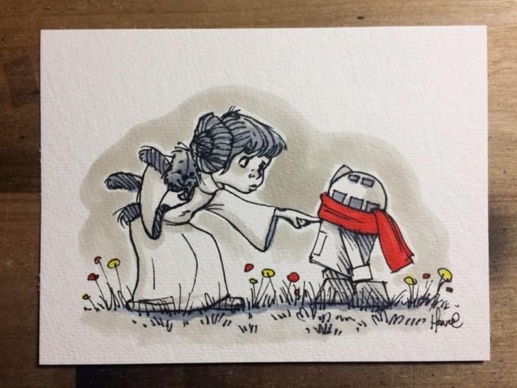ilustración de la princesa leía con R2D2 de star wars con los personajes de winnnie pooh