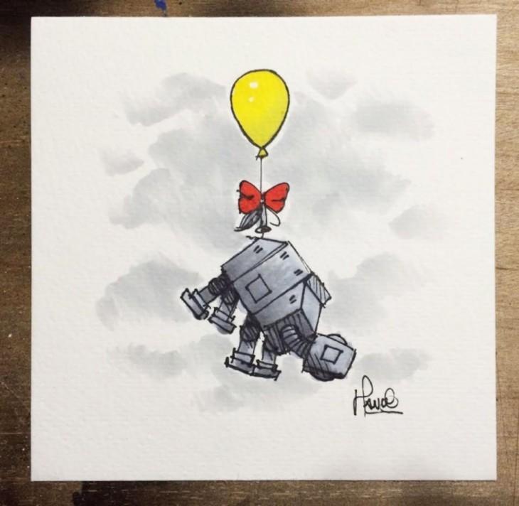 Ilustrador combina los personajes animados de Winnie Pooh y Star Wars