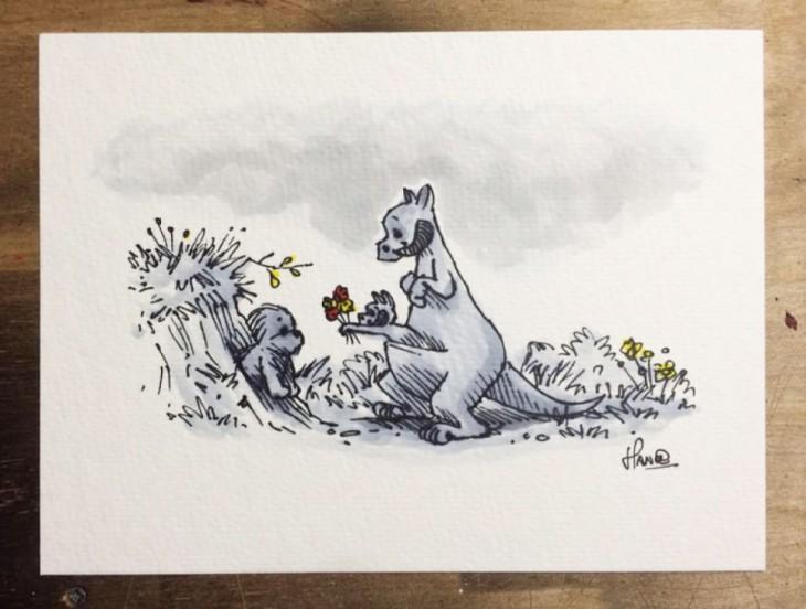 ilustraciones de los personajes de Winnie pooh recreando los personajes de Star Wars