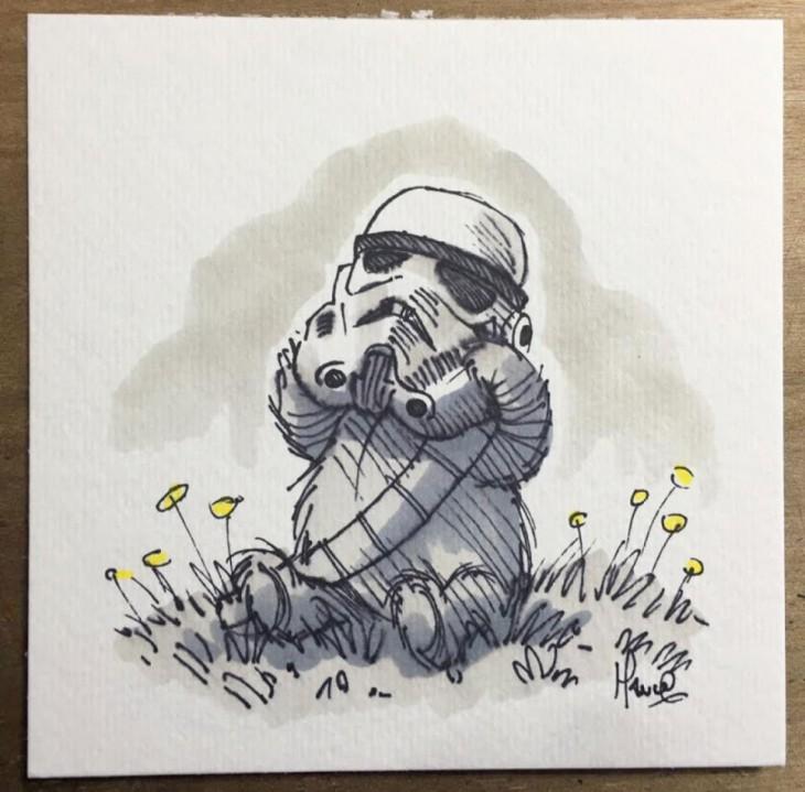 combinación de los personajes de winnie pooh con star wars de un soldado imperial