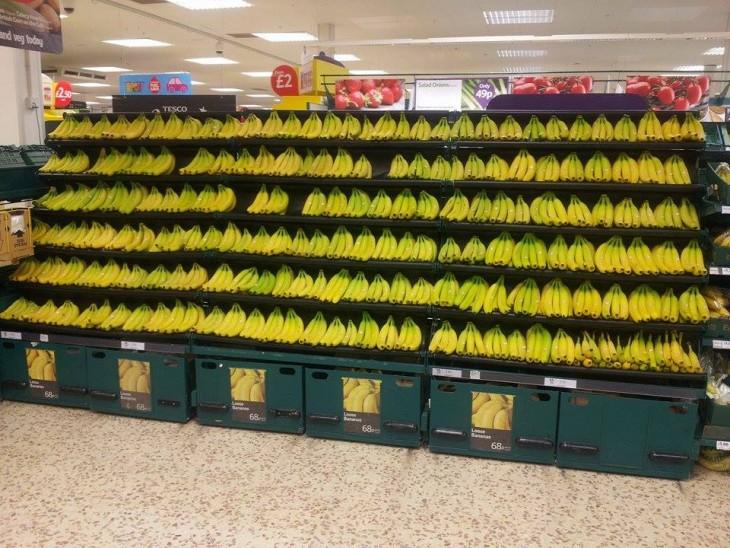 Estante de plátanos acomodados muy alineados