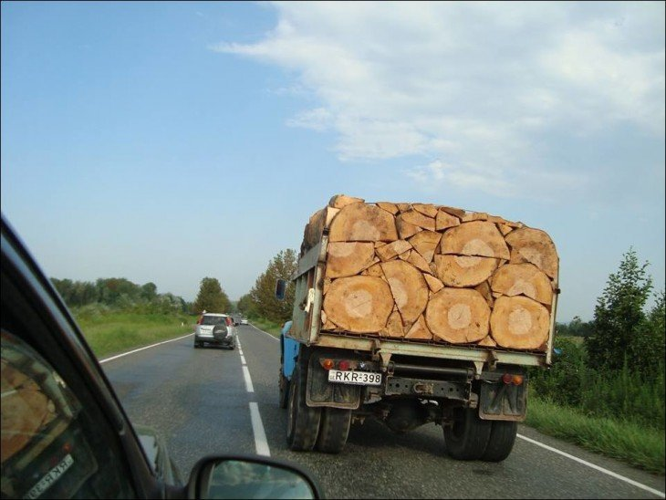 Camión en una carretera con trozos de madera en perfecto orden