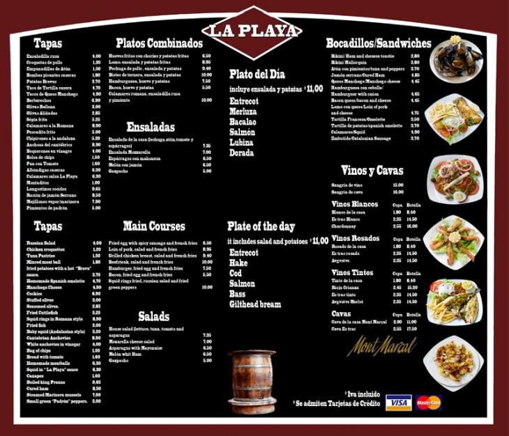 """Menú de comida de un restaurante llamado """"La Playa"""""""