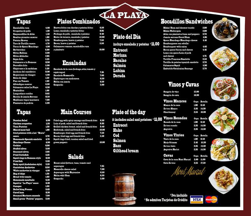 Q Restaurant Menu Card