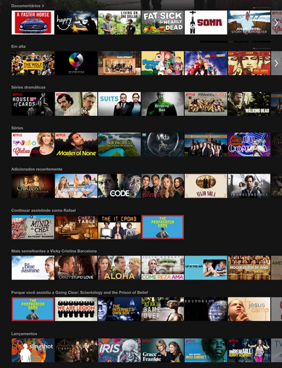 Menú de contenido en Netflix