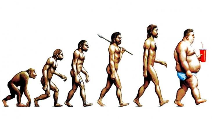 Ilustración que muestra la evolución del ser humano hasta llegar a un hombre gordo