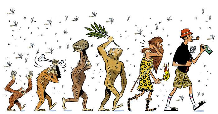ilustración de la evolución del hombre espantándose los animales
