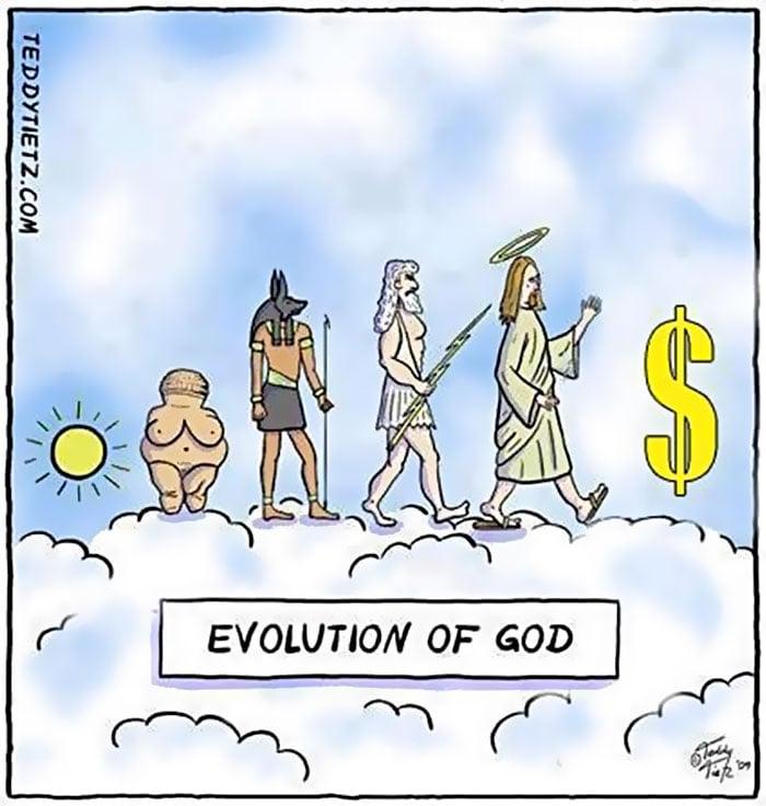 ilustración que muestra gráficamente la evolución de dios