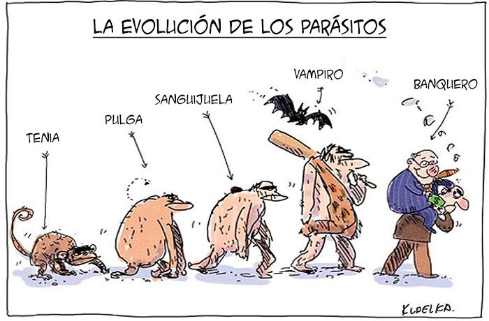ilustración que muestra la evolución de los parásitos