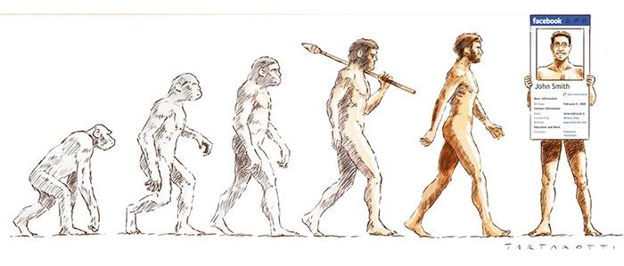 ilustración que muestra la evolución del hombre hasta llegar al Facebook