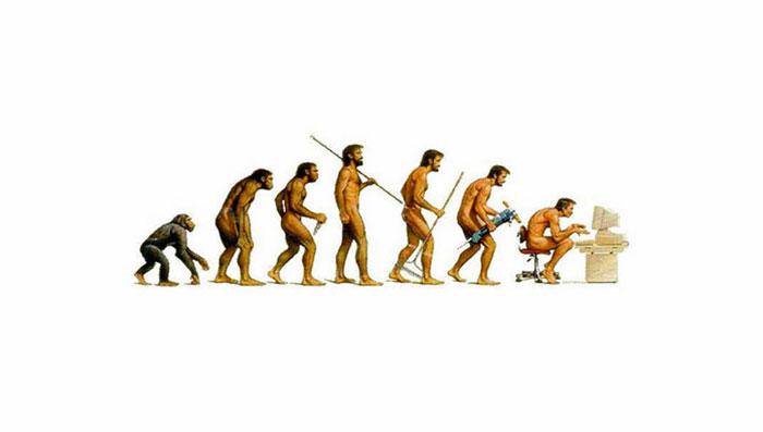 Ilustración que muestra la evolución del hombre hasta llegar a las computadoras