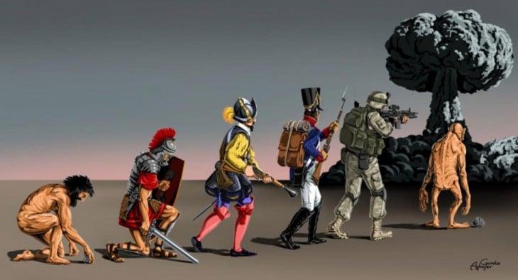 ilustración que muestra la evolución de la guerra
