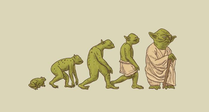 Ilustración que muestra la evolución de Yoda personaje de Star Wars