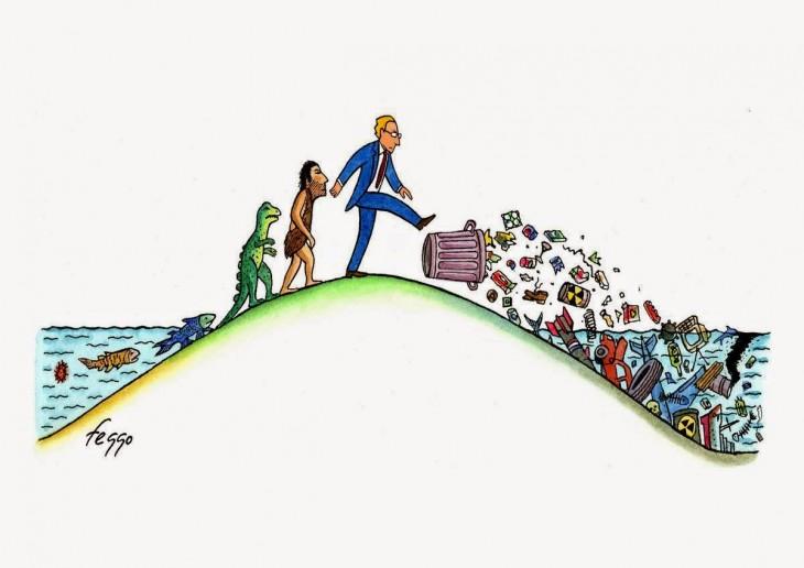 Ilustración que muestra la evolución donde al final el ser humano contamina el mar
