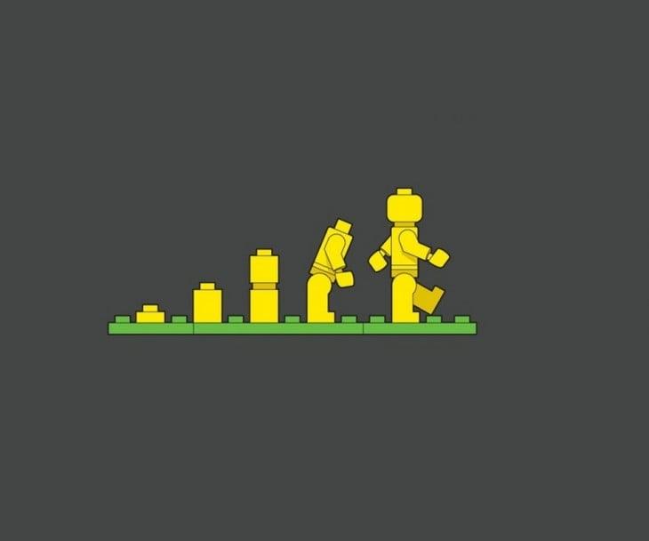 ilustración que muestra cómo ha ido evolucionando las figuras LEGO