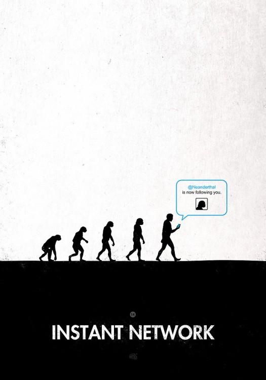 Ilustración de la evolución del hombre hasta llegar al twitter