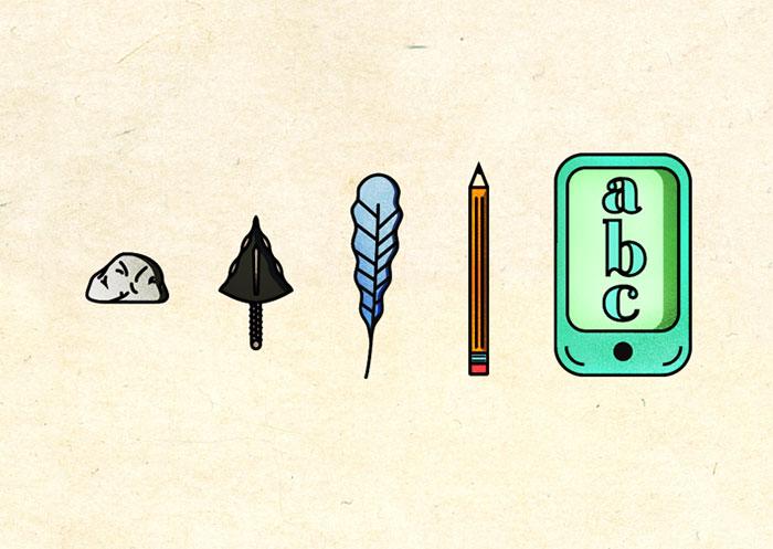 ilustración muestra como ha ido evolucionando la comunicación a lo largo de los años