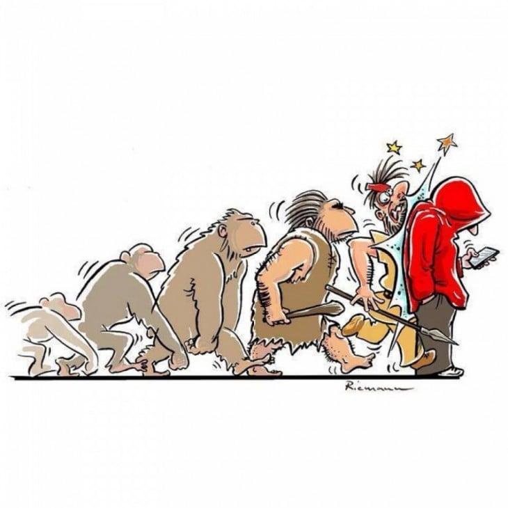 ilustración que muestra la evolución del hombre hasta que chocan con el hombre que trae un celular en la mano