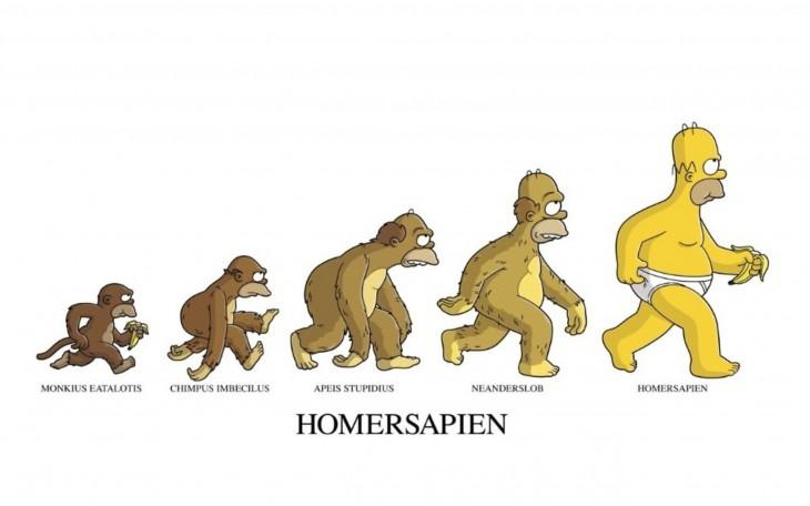 ilustración que muestra la evolución de Homero Simpson