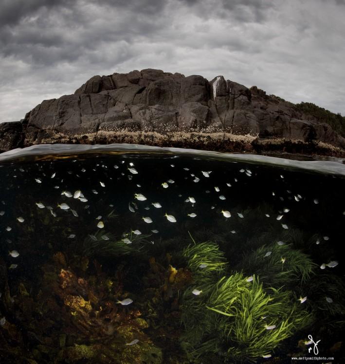 Fotografía que muestra la mitad de una montaña y la mitad de la superficie del mar