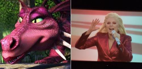 Lady gaga vestida como Dragonde Sherk