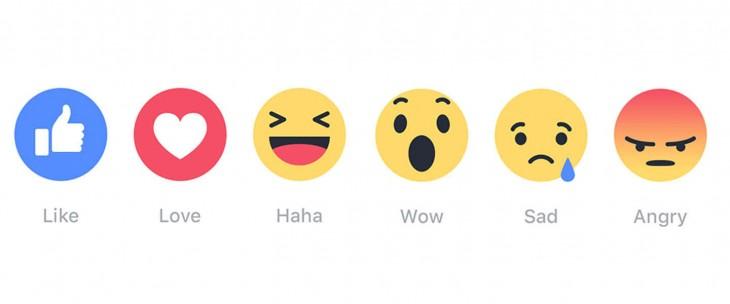 Emojis de las cinco nuevas reacciones de Facebook