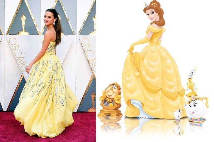 Meme del vestido de Alicia Vikander en los premios Oscar comparado con el de la princesa Bella