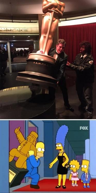 meme de los premios oscar 2016 con una escena de los simpson