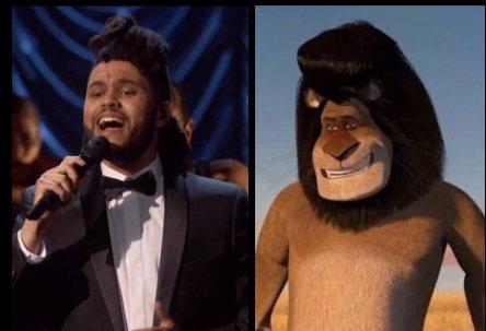 peinado de The Weeknd comparado con el de un personaje de Madagascar