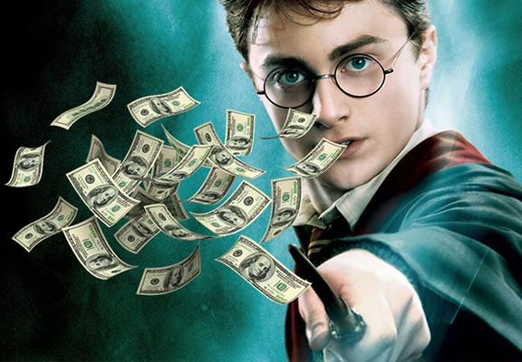 Harry potter lanzando dinero con su varita