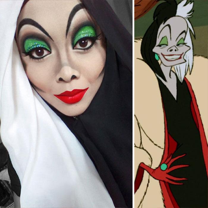 Maquillista transformada en la villana Cruella de Vil con maquillaje y su hijab